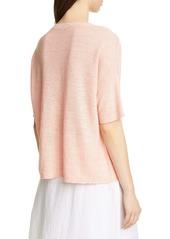 Eileen Fisher Elbow Sleeve Boxy Linen Sweater