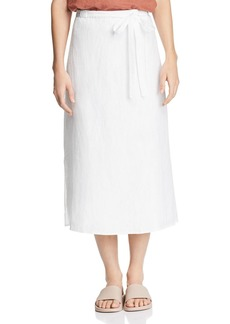 Eileen Fisher Faux Wrap Organic Linen Midi Skirt