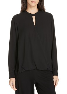 Eileen Fisher Faux Wrap Silk Blouse