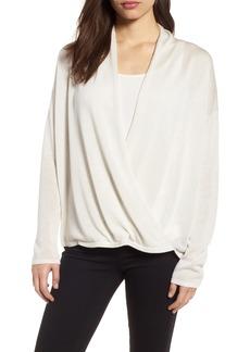 Eileen Fisher Faux Wrap Tencel® Lyocell & Merino Wool Sweater