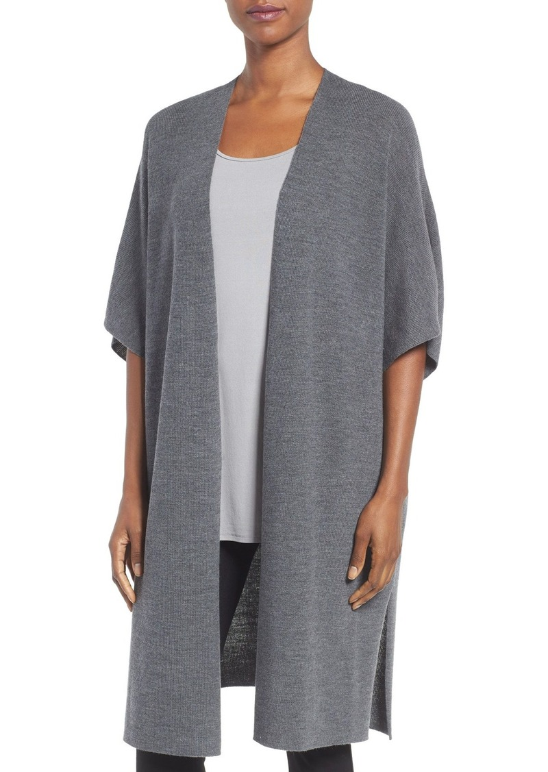 Eileen Fisher Eileen Fisher Fine Merino Wool Rib Knit Kimono ...