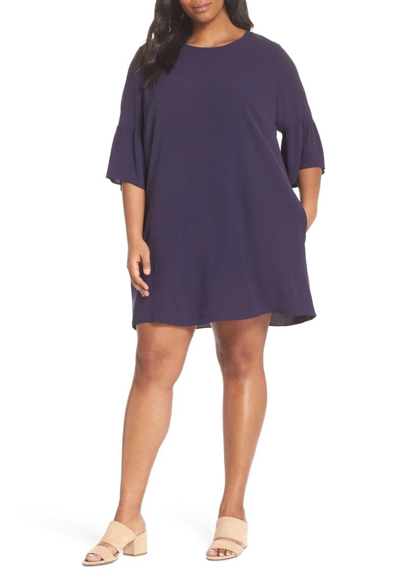 Flare Sleeve Silk Shift Dress (Plus Size)