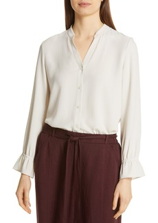 Eileen Fisher Flutter Cuff Silk Shirt (Regular & Petite)