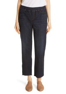 Eileen Fisher Frayed Hem Pull-On Ankle Jeans (Regular & Petite)