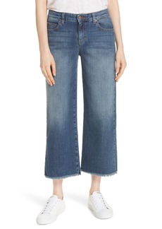 Eileen Fisher Frayed Wide Leg Ankle Jeans (Regular & Petite)
