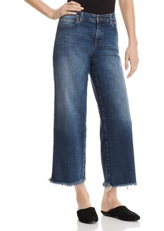Eileen Fisher Frayed Wide-Leg Ankle Jeans in Aged Indigo