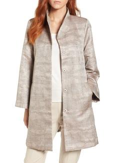 Eileen Fisher Funnel Neck Jacquard Jacket (Regular & Petite)