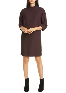 Eileen Fisher Funnel Neck Shift Dress (Regular & Petite)