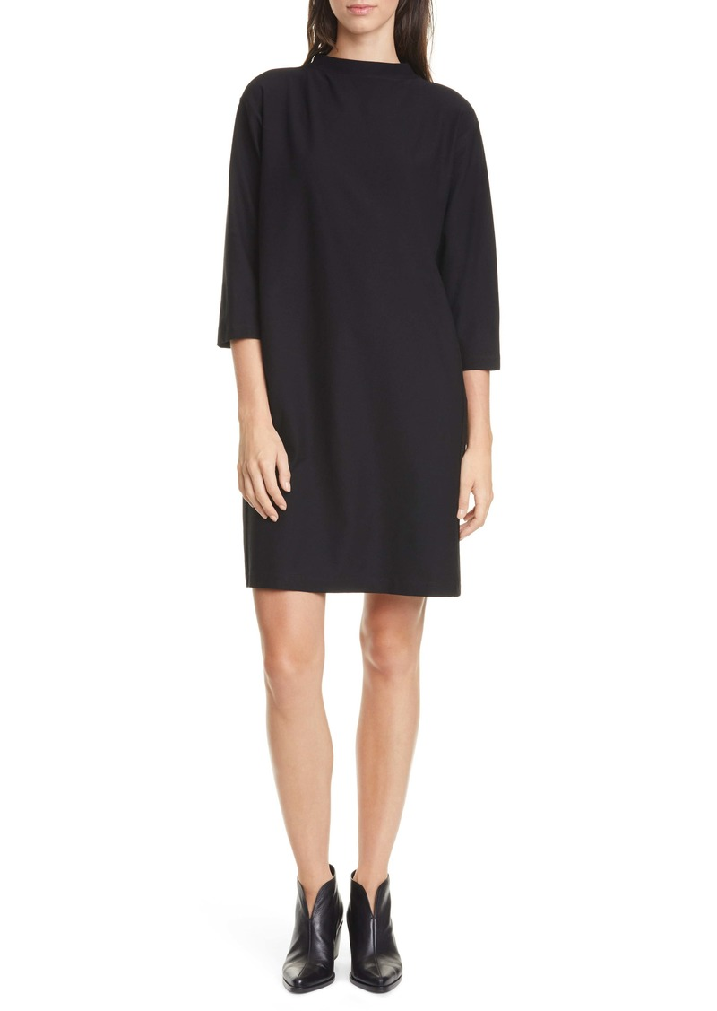 Eileen Fisher Funnel Neck Shift Dress (Regular & Petite)