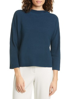 Eileen Fisher Funnel Neck Silk & Organic Cotton Sweater