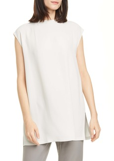 Eileen Fisher Funnel Neck Silk Box Top Tunic