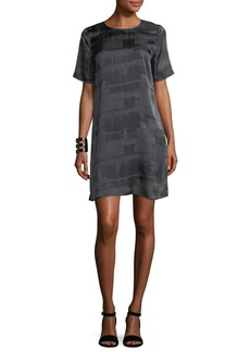 Eileen Fisher Gaia Printed Silk Boxy Shift Dress
