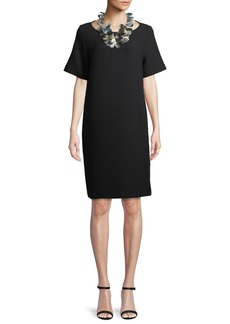 Eileen Fisher Geometry Stretch Short-Sleeve Dress