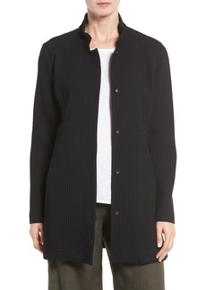 Eileen Fisher Grid Stretch Cotton & Tencel® Blend Jacket (Regular & Petite)