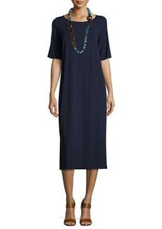 Eileen Fisher Half-Sleeve Jersey Midi Dress