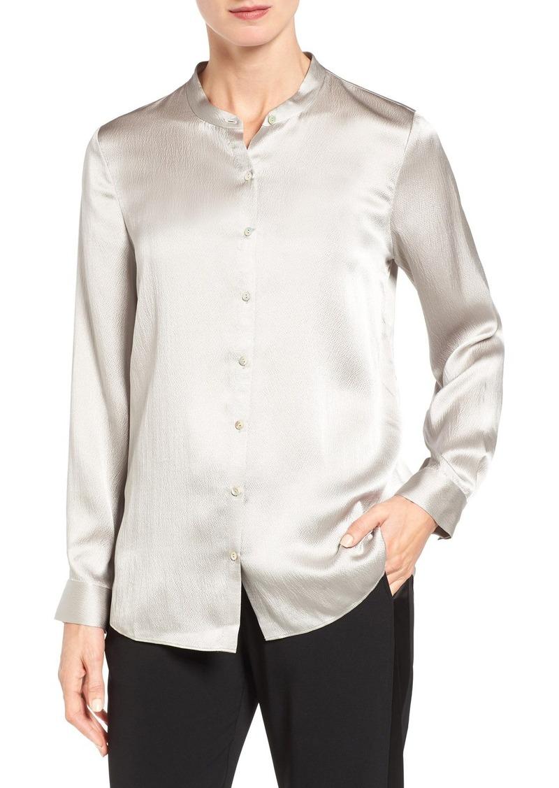 975d8b5be7a865 Eileen Fisher Hammered Silk Satin Mandarin Collar Blouse (Regular & Petite)