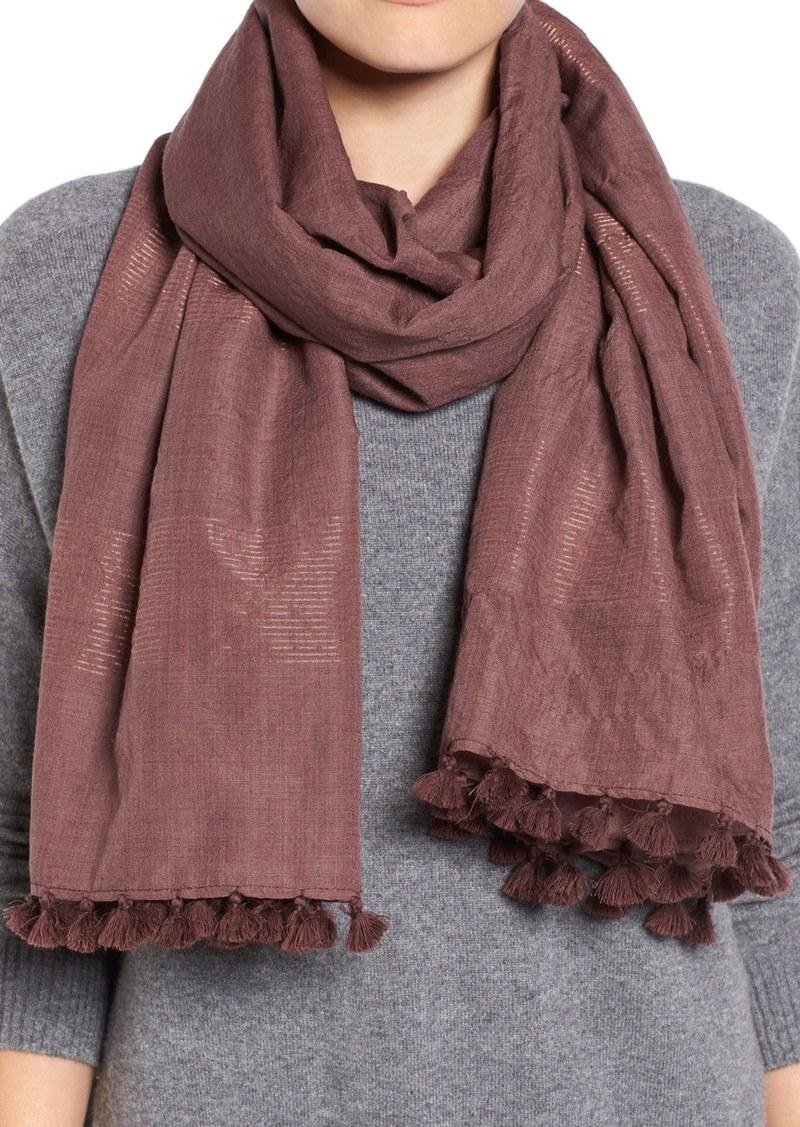 Eileen Fisher Hand Loomed Metallic Wool Blend Scarf