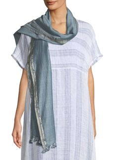 Eileen Fisher Hand-Loomed Silk Zari Striped Scarf
