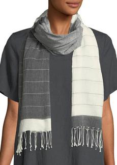Eileen Fisher Hand-Loomed Striped-Pattern Fringe Scarf