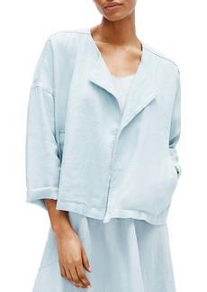 Eileen Fisher Heavy Organic Linen Drape Front Jacket (Regular & Petite)