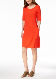 Eileen Fisher Organic Cotton Blend Elbow-Sleeve Dress, Created for Macy's