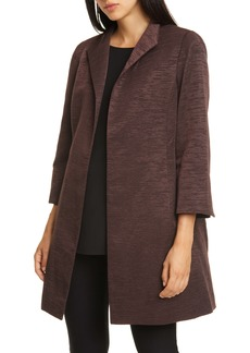 Eileen Fisher High Collar Bracelet Sleeve Cotton Blend Coat