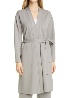 Eileen Fisher High Collar Tie Waist Jacket