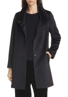 Eileen Fisher High Collar Wool & Alpaca Blend Coat