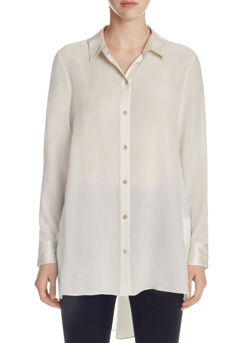 Eileen Fisher High Low Silk Button-Down Tunic