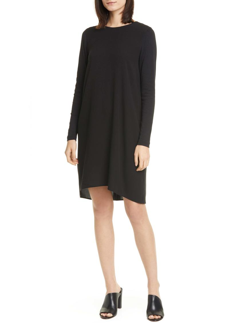 Eileen Fisher High/Low Long Sleeve Silk Dress