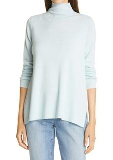 Eileen Fisher High/Low Merino Wool Turtleneck Sweater