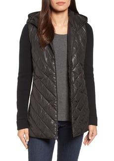 Eileen Fisher Hooded Merino Wool Trim Jacket