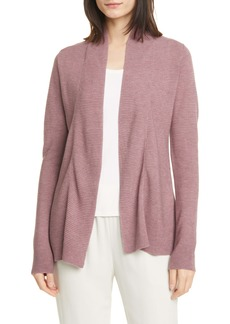 Eileen Fisher Horizontal Ribbed Open Front Cardigan
