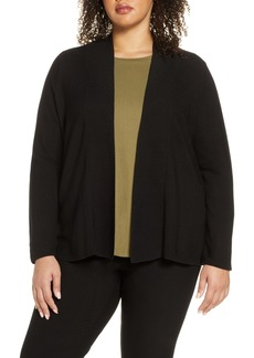 Eileen Fisher Horizontal Ribbed Open Front Cardigan (Plus Size)