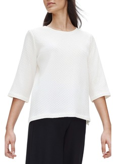 Eileen Fisher Jacquard Stretch Cotton Blend Boxy Top