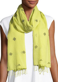 Eileen Fisher Jamdani Hand-Loomed Diamond Pattern Fringe Scarf