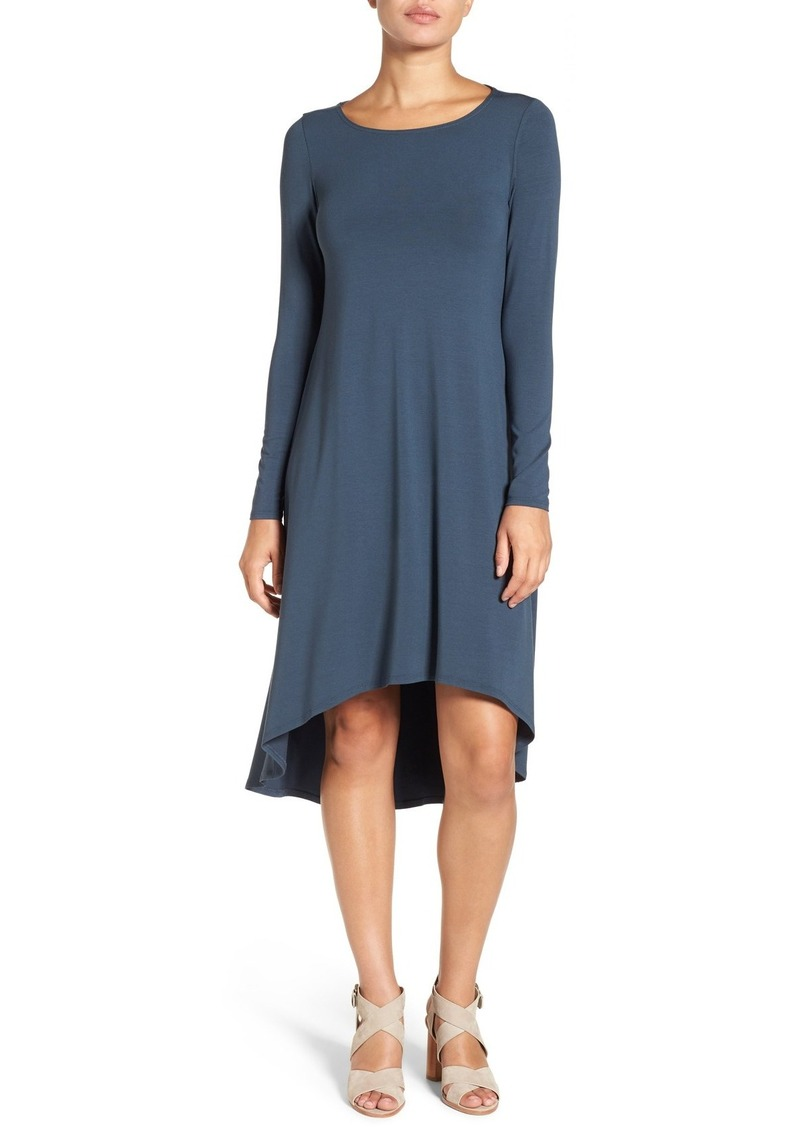 Eileen Fisher Jersey Asymmetrical Hem Ballet Neck Shift Dress