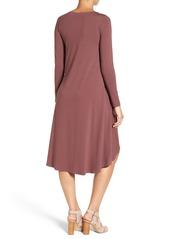 Eileen Fisher Jersey Asymmetrical Hem Ballet Neck Shift Dress
