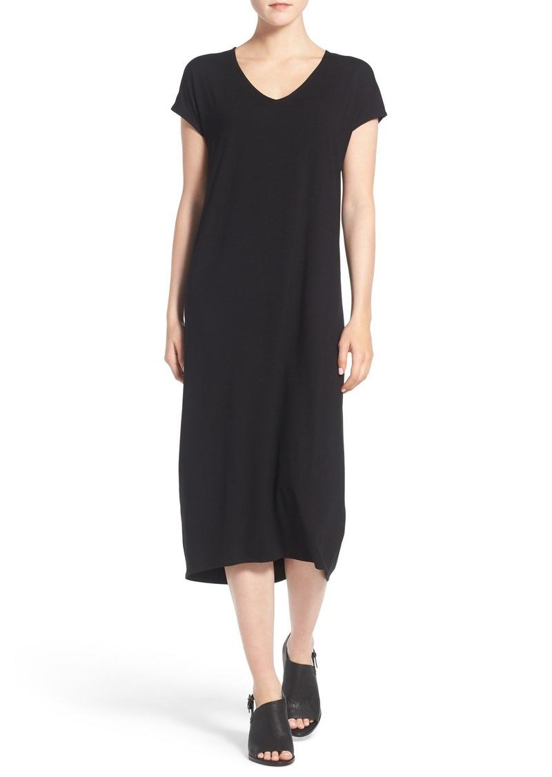 Eileen Fisher Jersey V-Neck Calf Length Dress