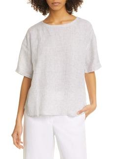 Eileen Fisher Jewel Neck Elbow Sleeve Boxy Organic Linen Top