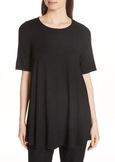 Eileen Fisher Jewel Neck Elbow Sleeve Tunic (Regular & Petite)