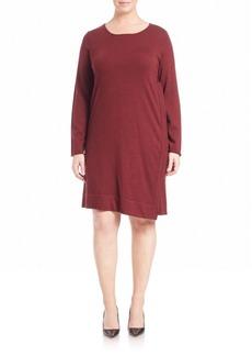 Eileen Fisher Jewelneck Long-Sleeve Dress