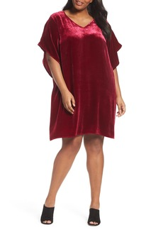 Eileen Fisher Kimono V-Neck Velvet Dress (Plus Size)
