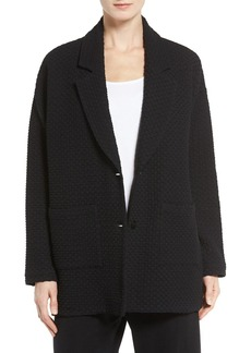 Eileen Fisher Lattice Texture Notch Collar Jacket