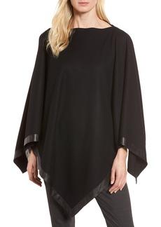 Eileen Fisher Leather Trim Wool Poncho (Regular & Petite)