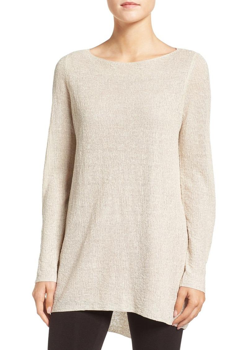 Eileen Fisher Lightweight Organic Linen Knit Bateau Neck Sweater (Regular & Petite)