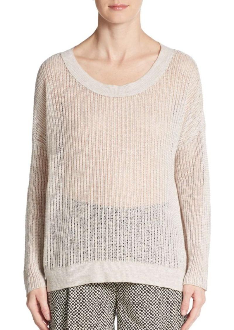 Eileen Fisher Linen & Cotton Open-Knit Sweater