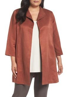 Eileen Fisher Linen & Silk High Collar Coat (Plus Size)