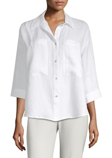 Eileen Fisher Linen Button-Front Shirt