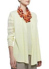 Eileen Fisher Linen Jersey Shadow Striped Cardigan